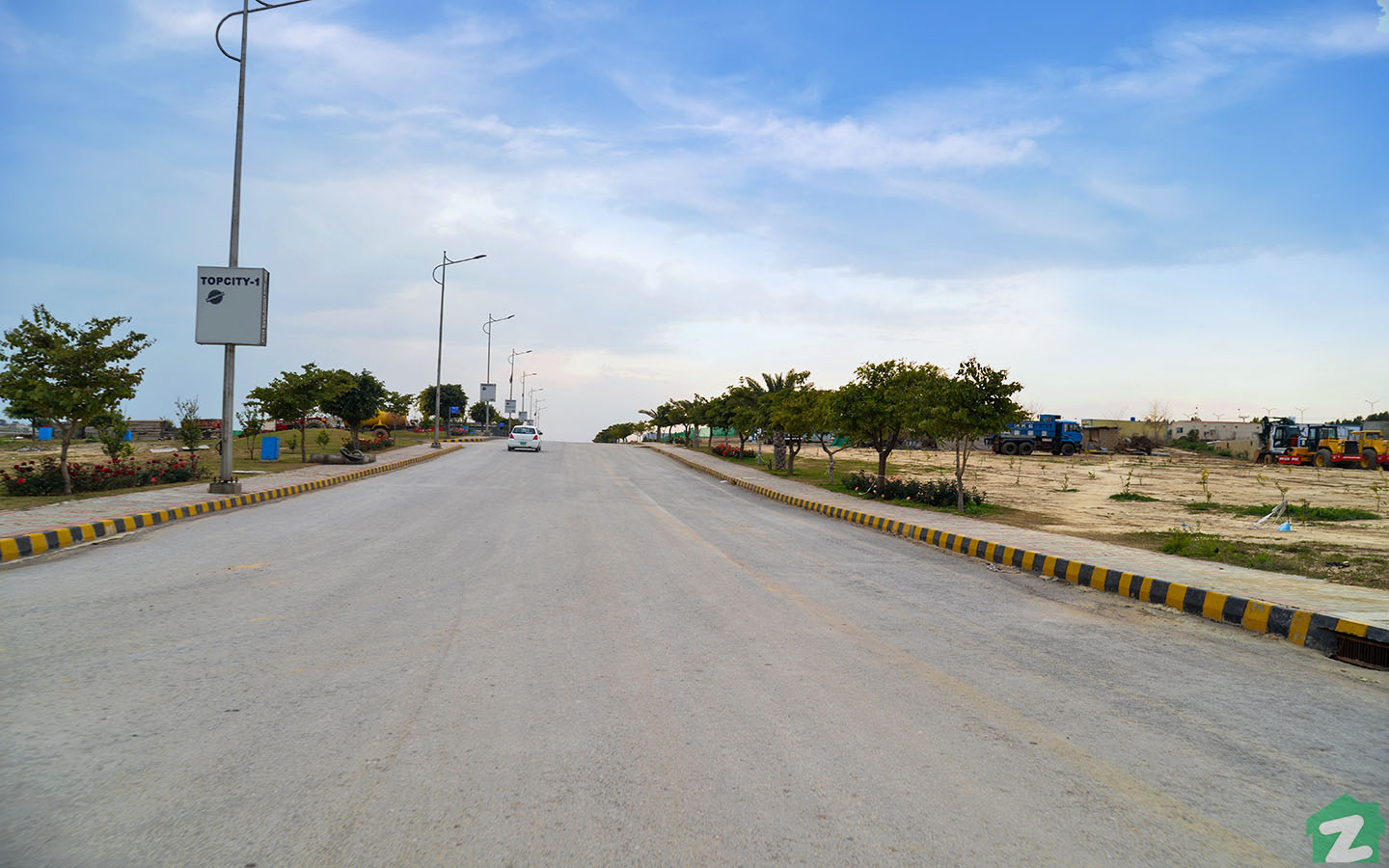 Wide carpeted roads of Top City 1 Islamabad