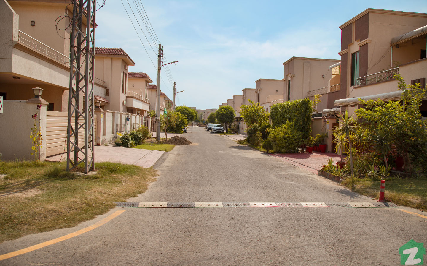 A beautiful street view of the houses available for sale in Askari 11 Lahore