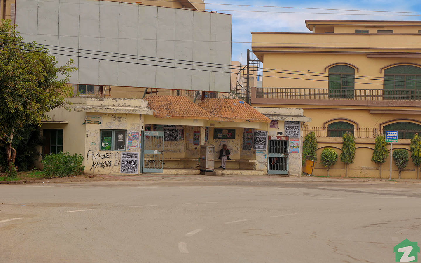 Many bus stops are available in WAPDA Town, Lahore