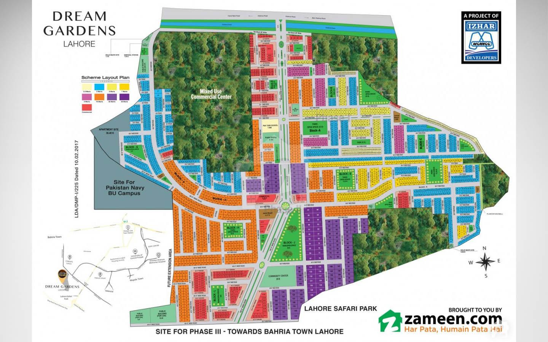 masterplan of dream gardens lahore