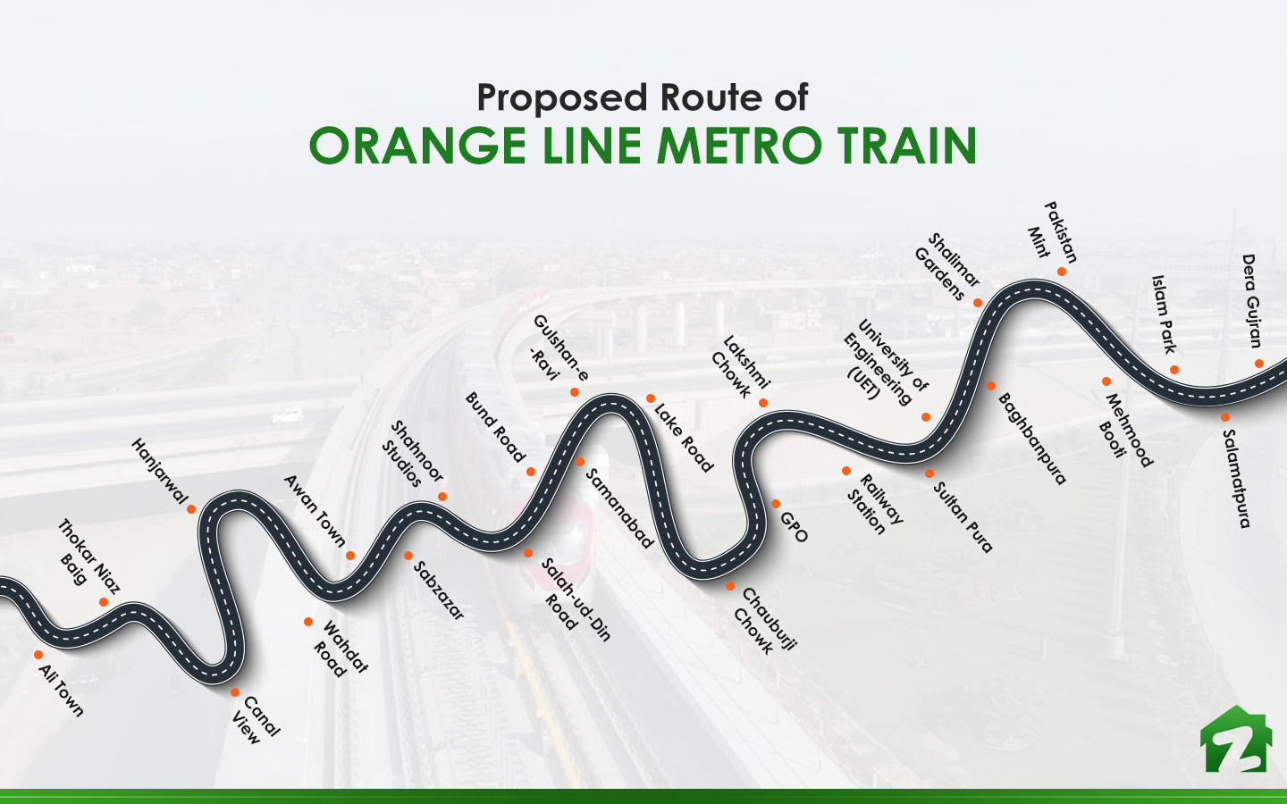 Orange Line Metro Train features many stations in the city.