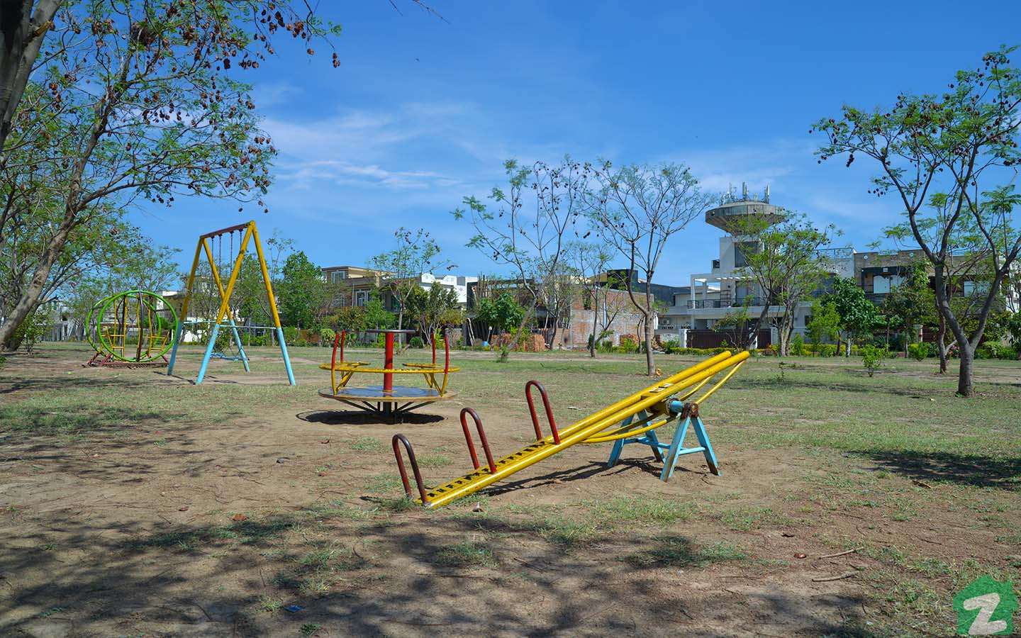 Park with playground equipment for kids