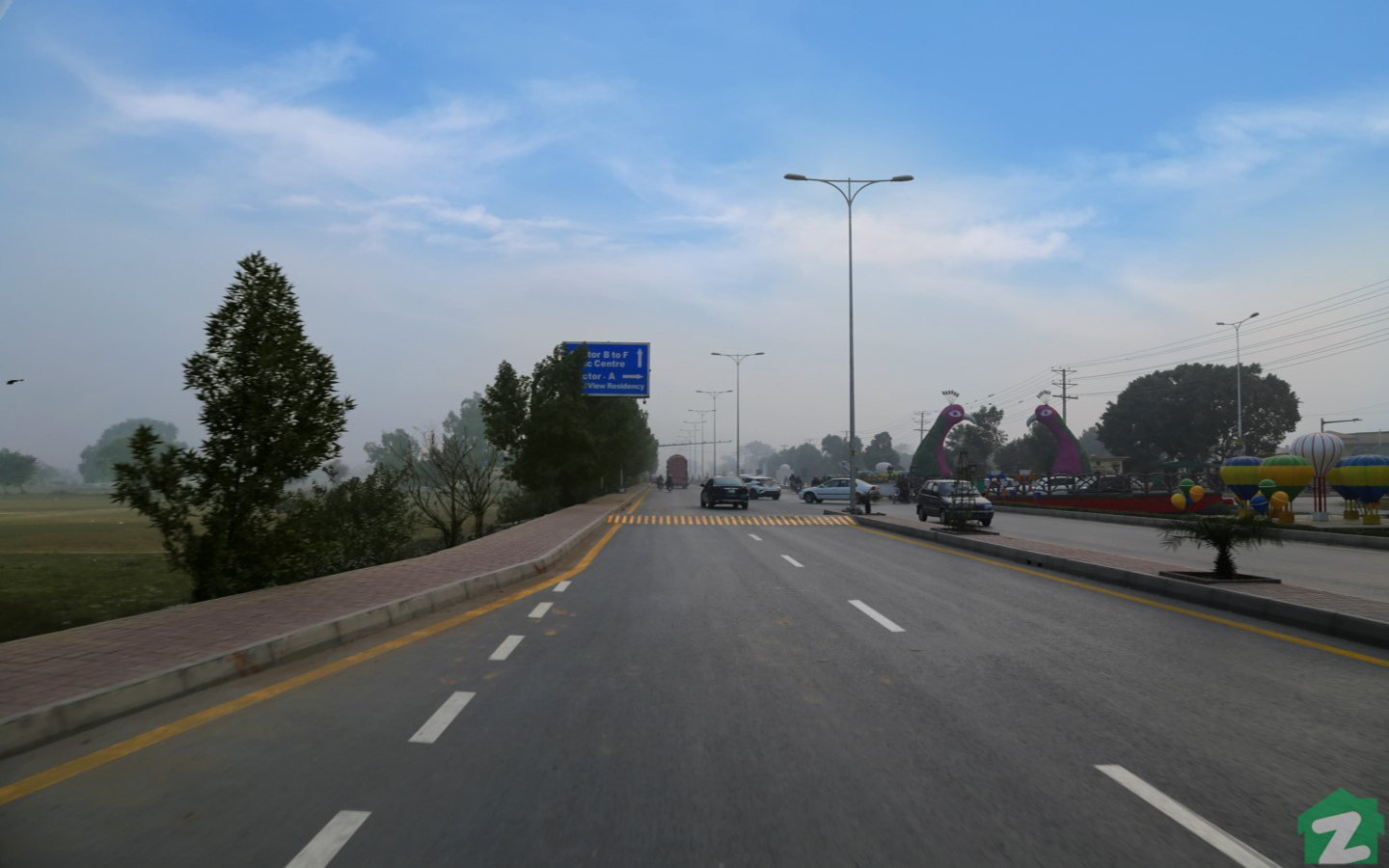 Sector E, Bahria Town Lahore has wide carpeted roads