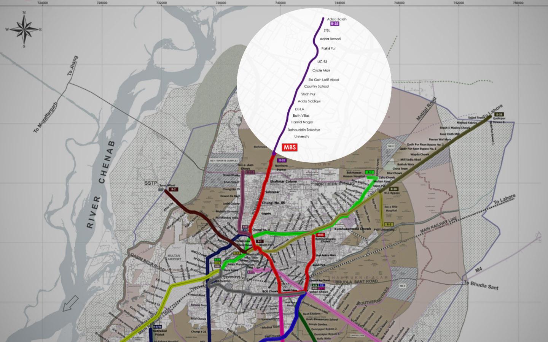 Multan Feeder Routes Map