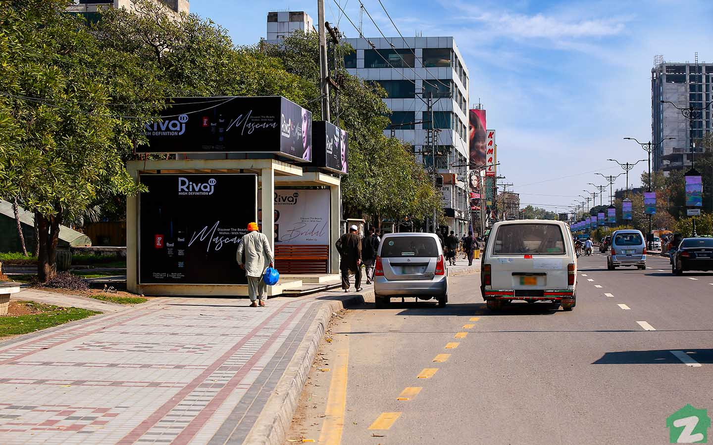 Several bus stops can be found in Gulberg Lahore