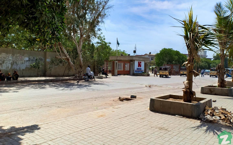 An outer view of Indus Hospital near Mehran Town, Korangi Karachi