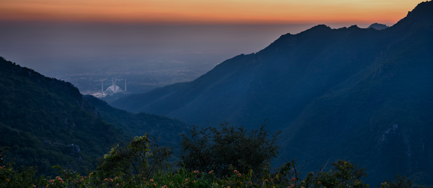 View of Faisal Mosque Islamabad from Margalla Hills
