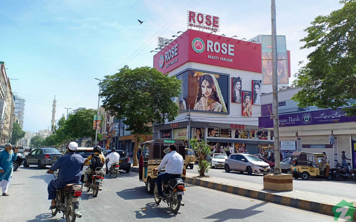 A road view of highlighted beauty parlour in PECHS, Jamshed Town Karachi