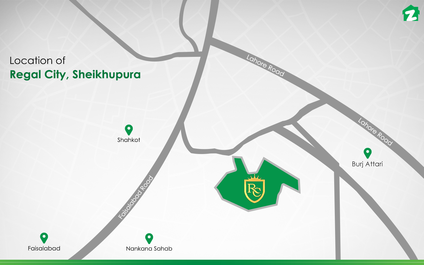 The location of Regal City of Sheikhupura.