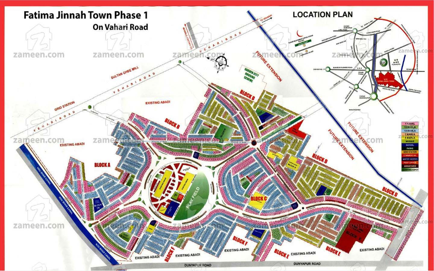 The master plan of Phase 1, Fatima Jinnah Town